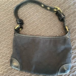 Small Fabric and Leather Coach Purse